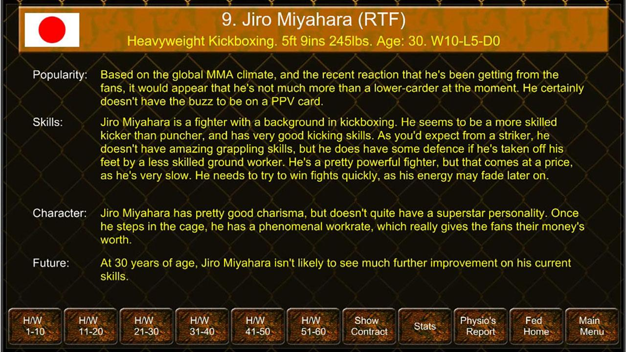 MMA Manager Game